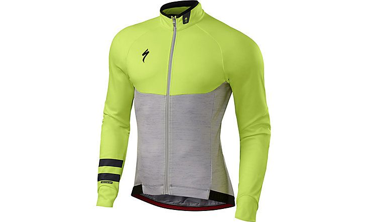 Specialized Langarmtrikot Therminal Long Sleeve Jersey Light Grey Heather/Neon Yellow 2018